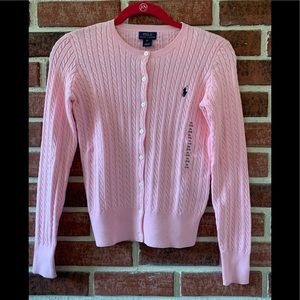Girls Polo pale pink button down cable sweater